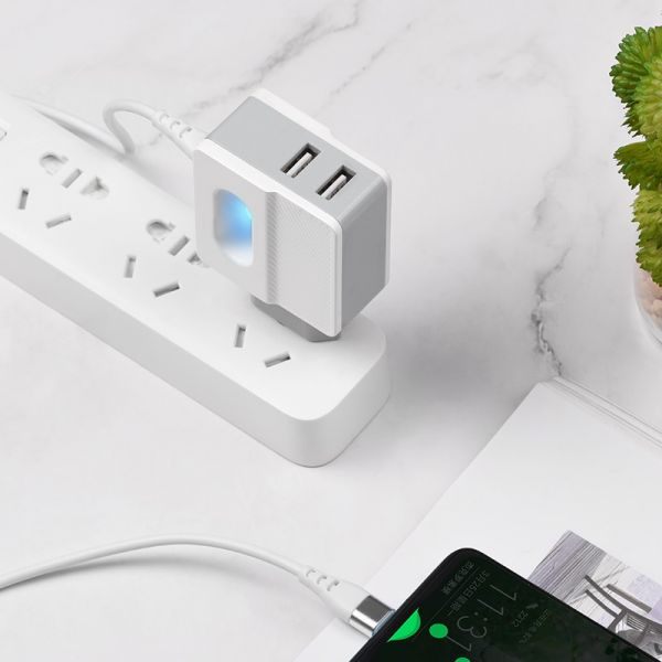 """HOCO Wall charger """"C75 Imperious"""" dual USB port EU with built-in wire(Type-c)"""