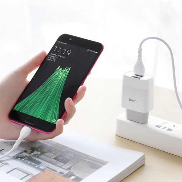 """HOCO Wall charger """"C73A Glorious"""" EU plug dual USB set with cable(Type-c)"""