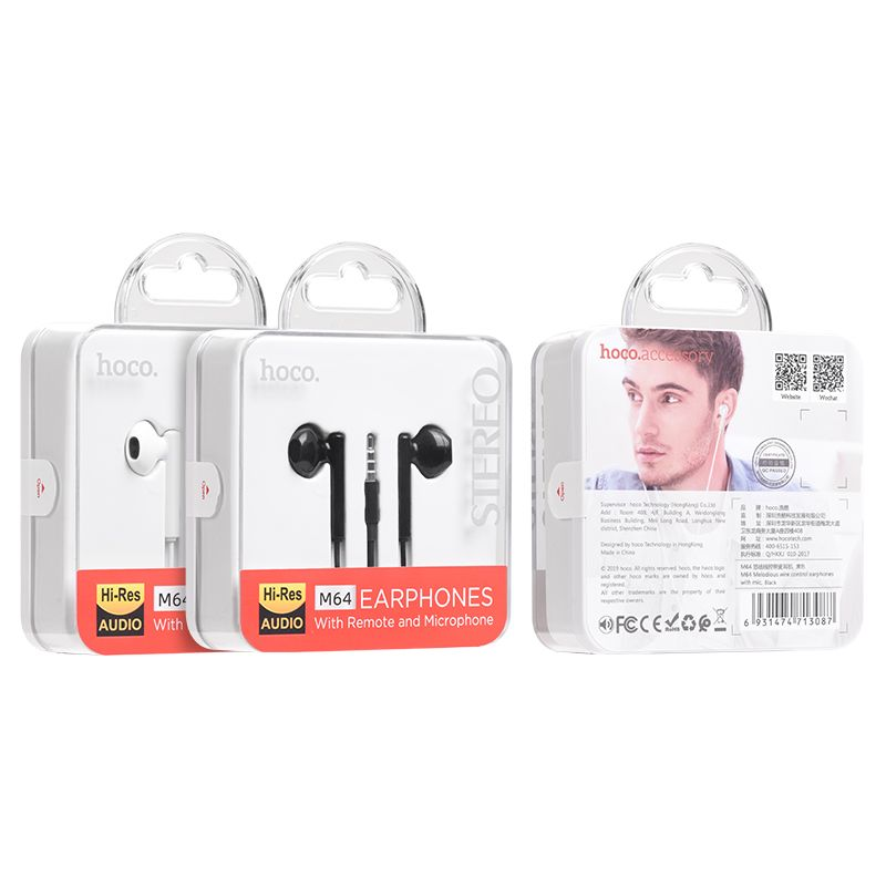 HOCO M64 Melodious wire control earphones with mic