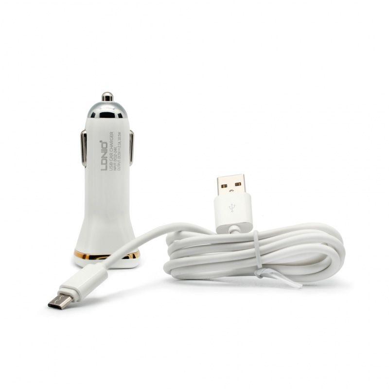 Auto punjač Ldnio Micro USB DL-DC219  2XUSB 2.1A, beli