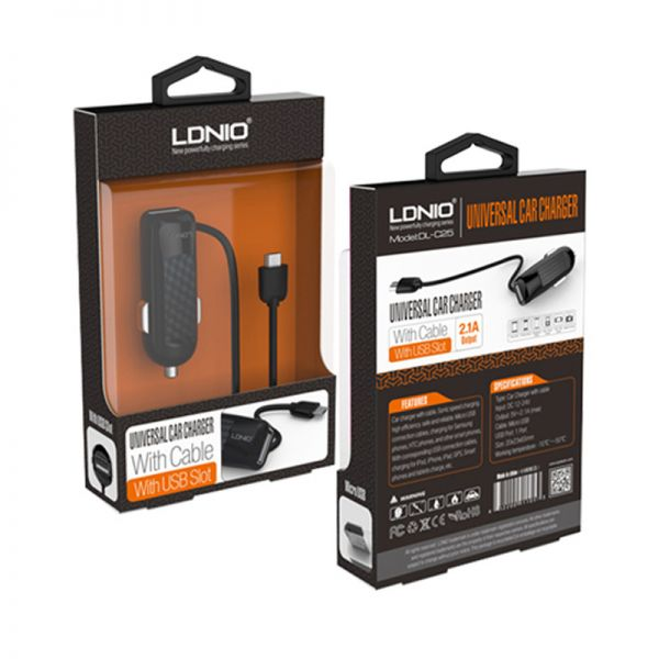 Auto punjač Ldnio Micro USB DL-C25 2.1A, crni