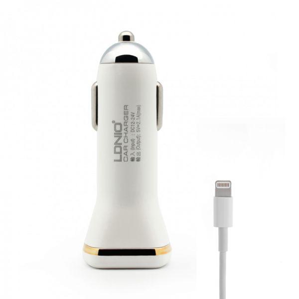 Auto punjač Ldnio DL-219 za iPhone 5/5s/5c/SE/6/6s/6+/6s+ 2xUSB 2.1A, beli