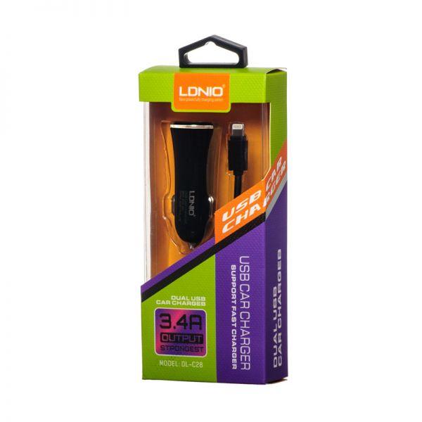 Auto punjač Ldnio DL-C28 za iPhone 5/5s/5c/SE/6/6s/6+/6s+ 2XUSB 3.4A, crni