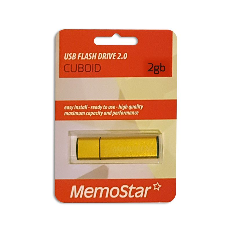 Usb Flash disk Memostar Cuboid 2GB, zlatni