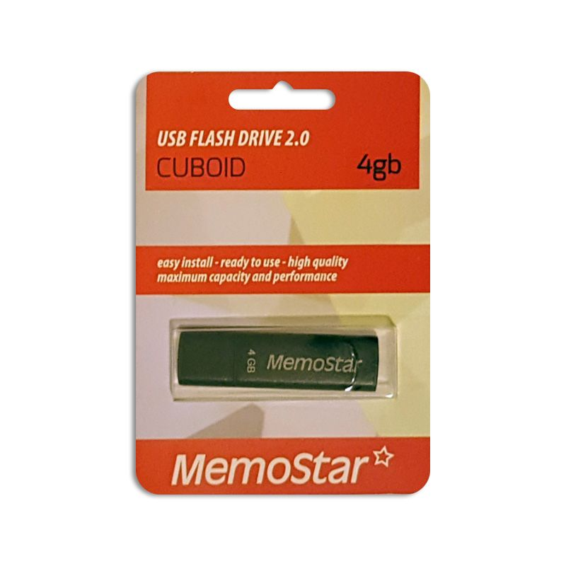 Usb Flash disk Memostar Cuboid 4GB, crni