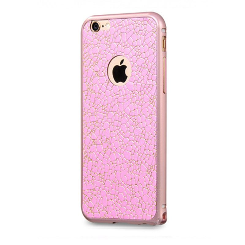 Hoco bumper sa kožnim leđima blade series leather za iPhone 6/6s, roze-zlatni