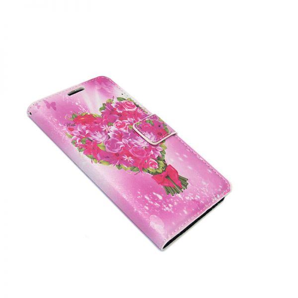 Futrola na preklop za Samsung J100 J1, cvetna pink