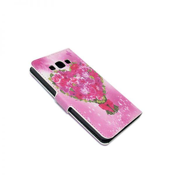 Futrola na preklop za Samsung A500 A5 cvetna, pink