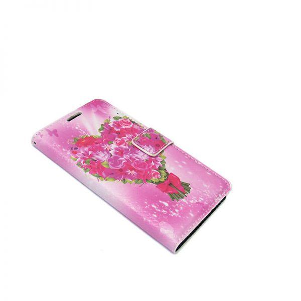 Futrola na preklop za Samsung G920 S6 cvetna, pink