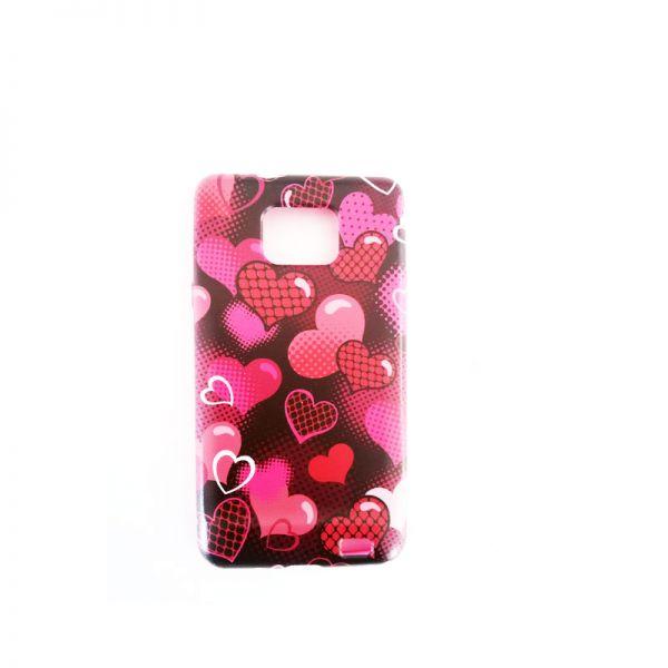 Futrola silikon Print za Samsung i9100 S2, srce pink